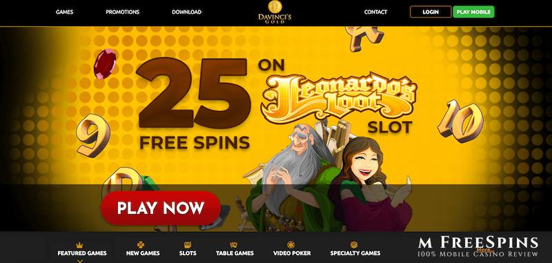 Da Vincis Gold Mobile Casino Review