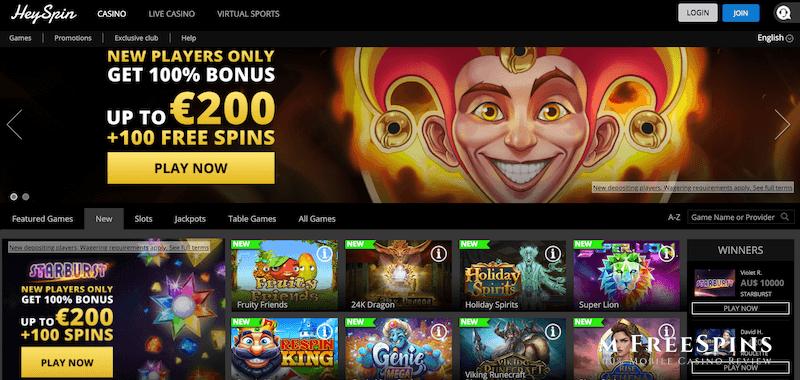 HeySpin Mobile Casino Review