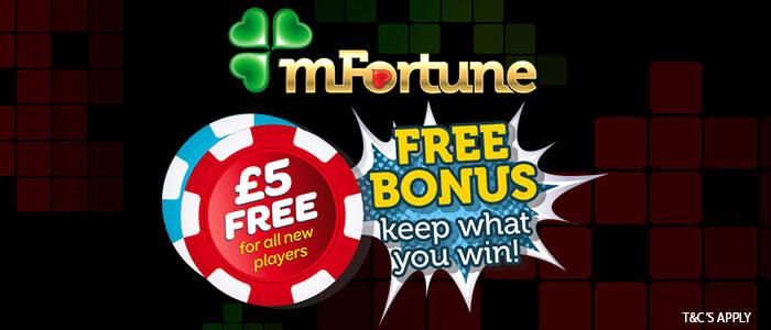 mfortune free bonus £5 cash